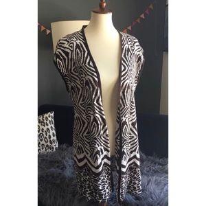 Chico's Zebra Open Front Cardigan Vest Sz L 2